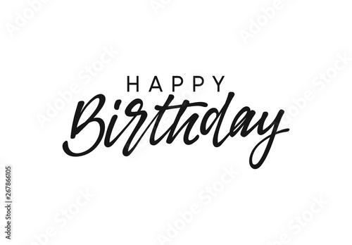 Photo Happy birthday handwritten text lettering on white background.