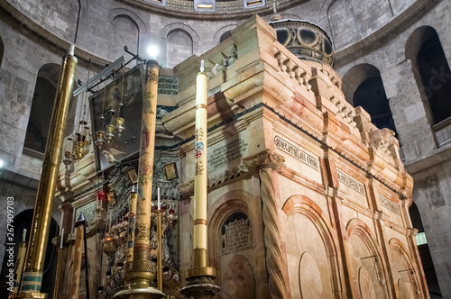 Wallpaper Mural Interior of Church of the Holy Sepulchre in Jerusalem, Israel