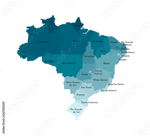 Photo Vector isolated illustration of simplified administrative map of Brazil
