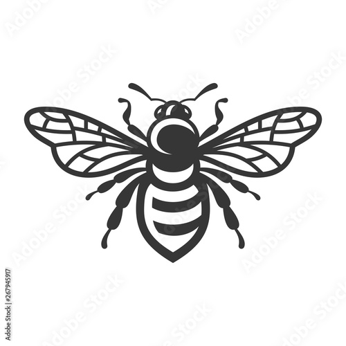 Fotografie, Obraz Bee Icon. Bug Logo on White Background. Vector