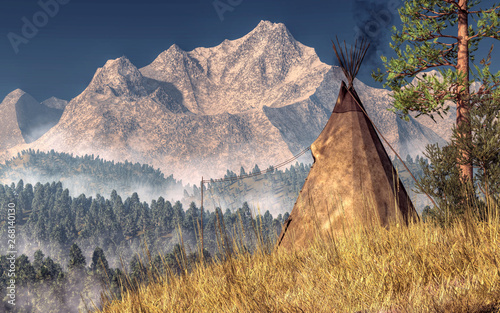 Obraz na płótnie An Indian teepee (also spelled tipi and tepee) is pitched near the rocky mountians in the American Wild West