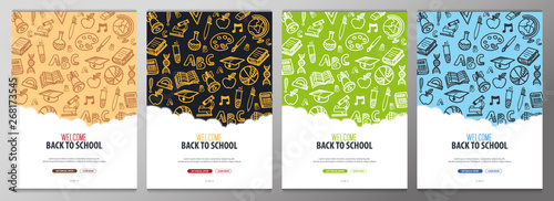 Photographie Set of Back to School banners with hand draw doodle background