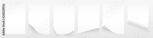 Blank A4 sheet of white paper with curled corner and shadow, template for your design Fototapete