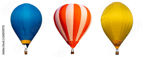 Photo Isolated photo of hot air balloon isolated on white background.