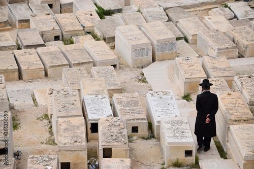 Canvas Print Hombre judío ortodoxo paseando solo por el cementerio de Jerusalén, Israel, Medio oriente