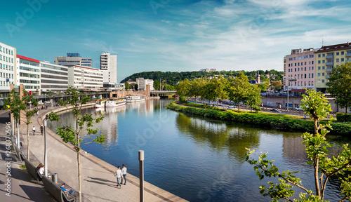 Fotografie, Obraz Saarbrücken, Saarland – Panorama XXL Stadtzentrum mit Saar im Sommer