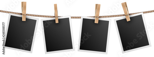 Retro photo frames hanging on rope isolated on white background vector illustration. Photo picture for album, empt photograph
