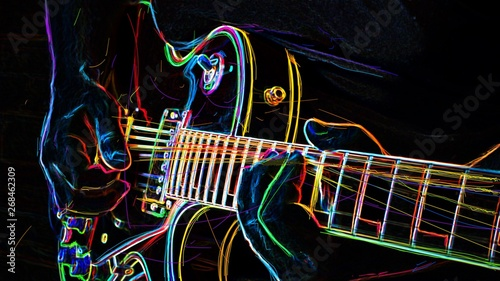 Fotografie, Obraz electric guitar . abstract neon painting