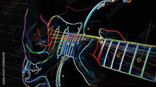 Fotografia, Obraz electric guitar . abstract neon painting