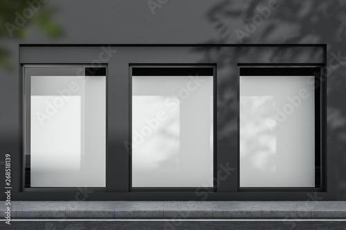 Obraz na płótnie Gray building exterior with mock up posters