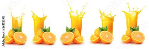 Oranges and glass of orange juice with splash