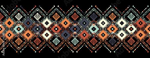 Canvas Print Ikat seamless pattern. Tribal art print. Chevron