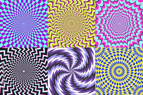 Fototapeta premium Spirala psychodeliczna. Złudzenie optyczne, spirale złudzenia i zestaw ilustracji wektorowych spirala hipnozy kolorowe abstrakcji