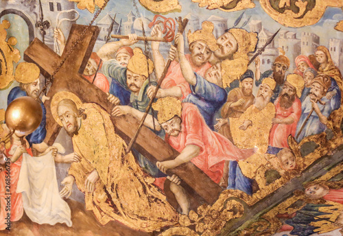 Fotografia Fresco in Church of the Holy Sepulchre, Jerusalem - Jesus on the Via Dolorosa