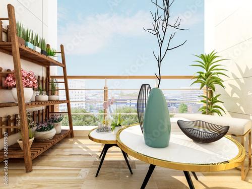 Valokuvatapetti Beautiful outdoor balcony at home, sunny
