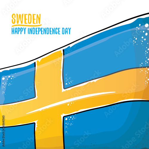 Wallpaper Mural sweden indepedence day celebration banner or poster with greeting text and swedish flag