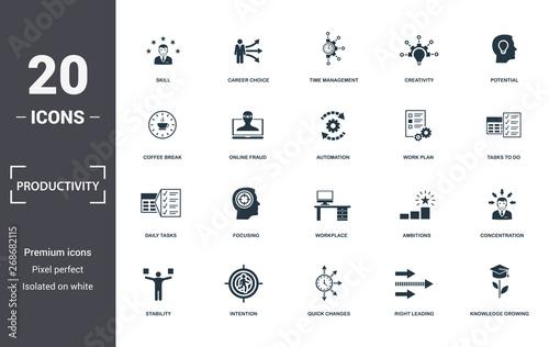 Slika na platnu Productivity icons set collection