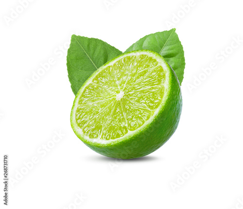 Photo lime with leaf on white background