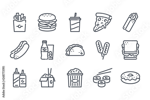 Fast food related line icon set. Street food linear icons. Burger, hotdog and sandwich outline vector signs and symbols collection.