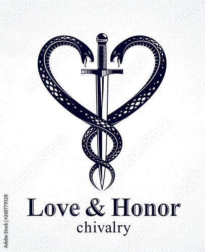 Fotografía Dagger and two snakes in a shape of heart vector vintage style emblem or logo, chivalry love and honor concept, medieval Victorian style