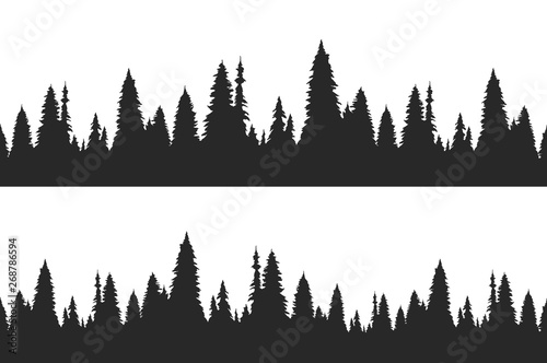 Canvas Print Set of two seamless hand drawn pine forest