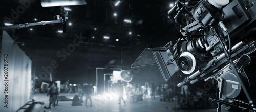 Billede på lærred Behind the scenes of making of movie and TV commercial