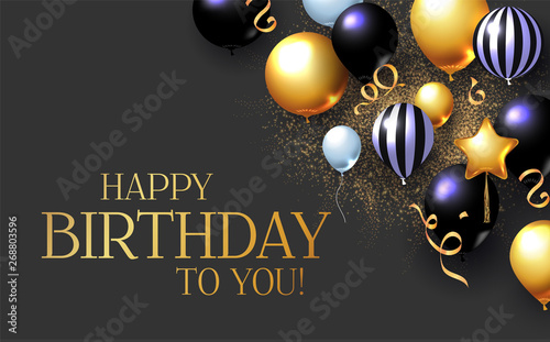 Wallpaper Mural Happy Birthday Congratulations Card Template with Realistic 3D Foil Balloons