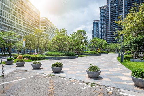 Foto Beautiful city residential high-rise residential community background material