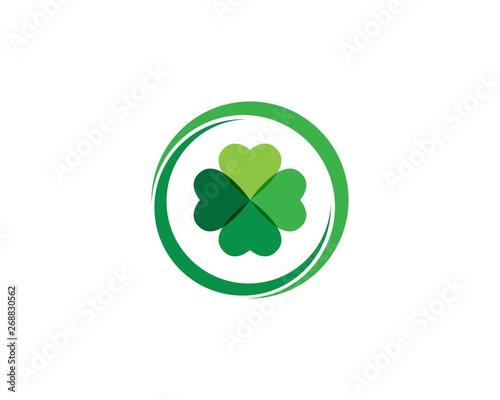 Clover leaf logo icon design template vector Fototapeta