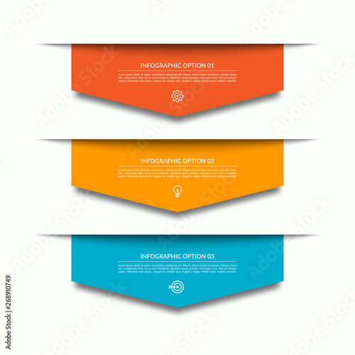 Slika na platnu Infographic template with 3 downward colorful paper arrows