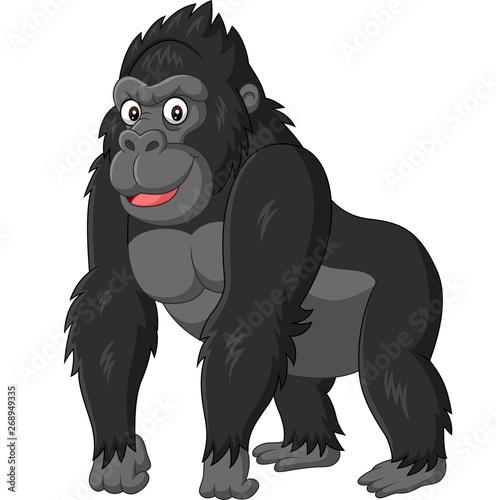 Cartoon funny gorilla on white background Fototapeta