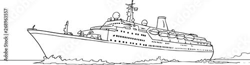 Fotografie, Obraz Vector illustration of sea cruise ship isolated on white
