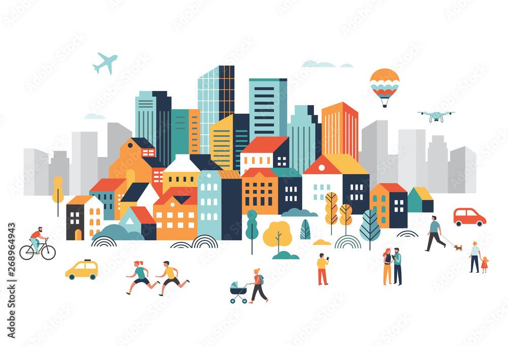 Inteligentne miasto, krajobrazowe centrum miasta z wieloma budynkami, samolot leci na niebie i ludzie chodzą, biegają w parku. <span>plik: #268964943   autor: Marina Zlochin</span>