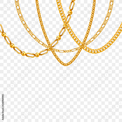 Obraz na plátně Gold chain isolated. Vector necklace