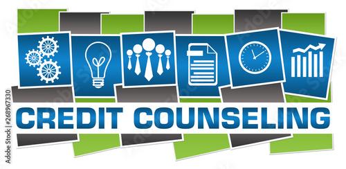 Fotografía Credit Counseling Business Symbols Green Blue Grey Horizontal Stripes