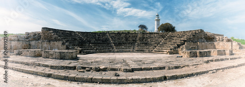 Tablou Canvas Ancient Odeon amphitheatre in Paphos Archaeological Park (Kato Pafos), harbour of Paphos, Cyprus, panoramic view