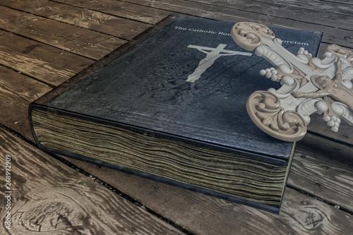 Tableau sur Toile exorcism book on wooden floor