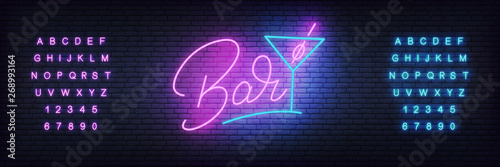 Bar neon template. Glowing lettering Bar and cocktail glass.