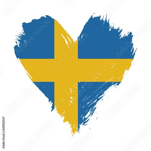 Wallpaper Mural Brushstroke painted flag of Sweden