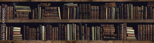 Collection of valuable ancient books on a bookshelf