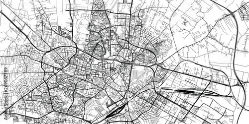 Obraz na plátně Urban vector city map of Lublin, Poland