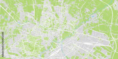 Fototapeta Urban vector city map of Lublin, Poland