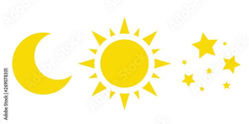 Obraz na płótnie sun, moon and stars, a collection of vector icons