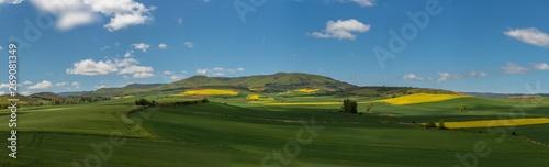Beautiful agricultural landscape on the Way of St. James, Camino de Santiago between Ciruena and Santo Domingo de la Calzada in La Rioja, Spain