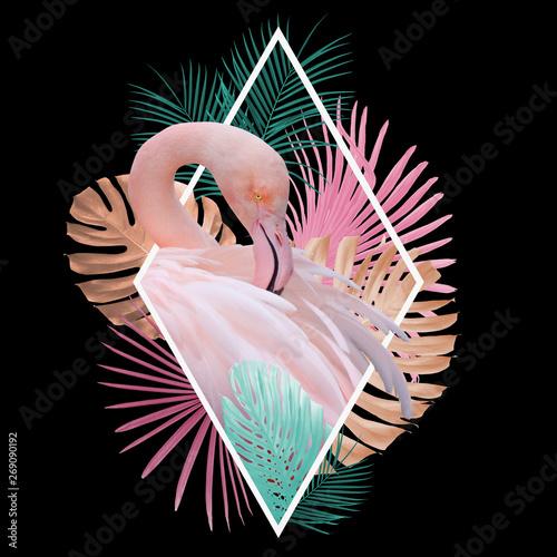 Carta da parati Tropical leaves flamingo design in light pink, golden, turquoise on black, can b
