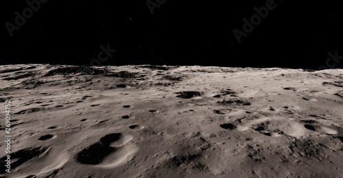 Foto Moon surface / Realistic moon / The Moon is an astronomical body that orbits planet Earth, being Earth's only permanent natural satellite