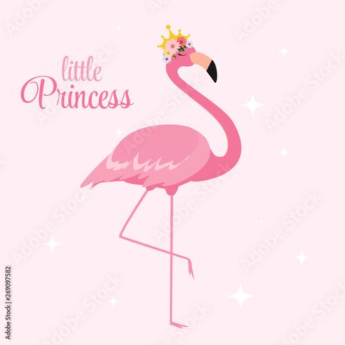 Valokuva Beautiful Little Princess Pink Flamingo in Golden Crown
