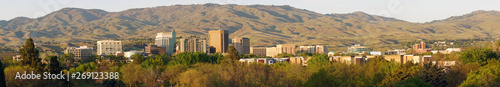 Fotografie, Tablou Long Panoramic Late Afternoon Light Downtown City Center Boise Idaho
