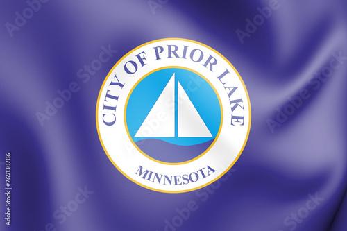 Canvas Print 3D Flag of Prior Lake (Minnesota), USA. 3D Illustration.