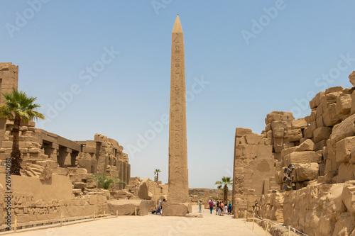 Obraz na plátně Luxor, Egypt - April 16, 2019: Thutmose I Obelisk in Amun Temple, Karnak, Luxor